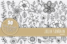 Flower Doodle Clipart and Vector Set