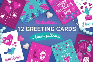 12 Valentine Cards + Bonus Patterns