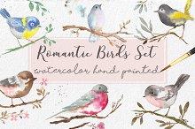 Watercolor Romantic Birds handmade