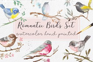 Watercolor Romantic Birds handmade