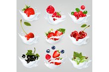 Big collection of icons of fruit