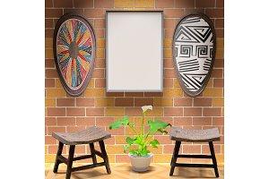 Mocap African interior living room.