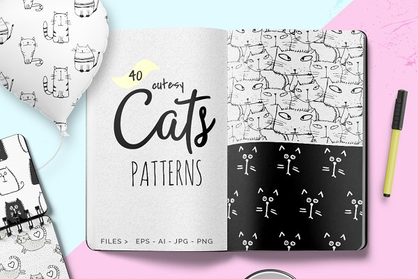 Cats Patterns - Set of 40