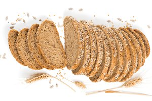 View from above, bread with cereals
