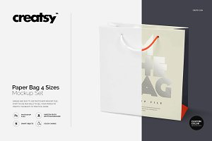 Paper Bag 4 Sizes Mockup Set