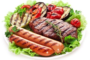 steak,sausages and vegetables