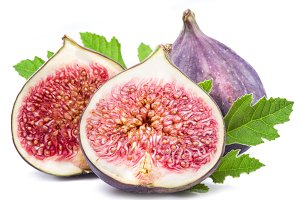 Ripe fig fruits on the white