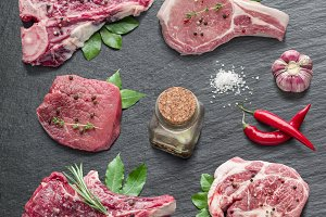 Raw meat steaks with spices