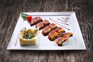Smoked eel - japanese food.