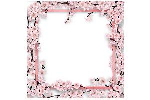 frame overgrown sakura tree branches
