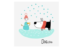 Dog & Bird in the Snow