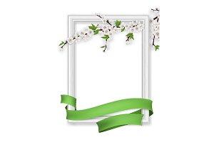 photo frame blooming branch green ribbon