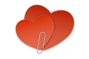 two heart paper clip
