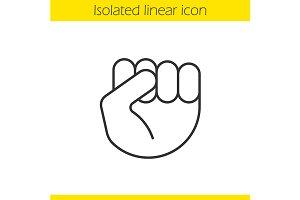 Raised fist gesture icon. Vector