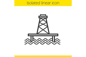 Off shore sea well icon. Vector