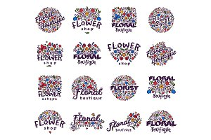 Floral shop badge vector illustration.