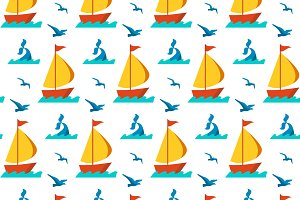 Seamless patterns nautical elements