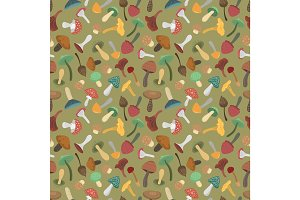 Mushrooms vector illustration seamless pattern