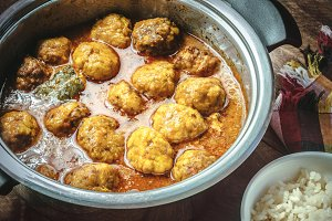 Meatballs on rustic background