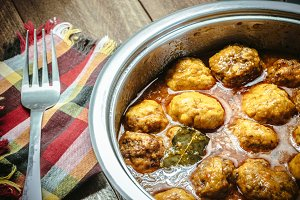 Homemade Meat balls in curry sauce