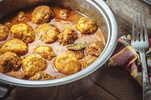 Homemade Meatballs in curry sauce
