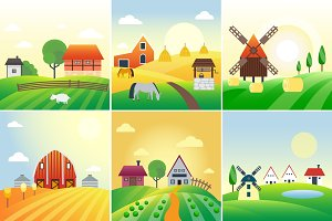 Farm field vector illustration
