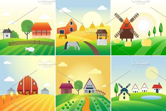 Farm field vector illustration