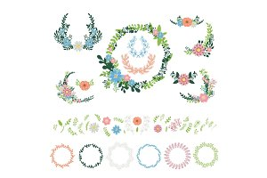 Floral wreath decoration vector.