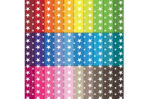 30 Rainbow Star Shape Digital Paper