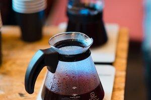 Espresso machine making coffee in pub, bar