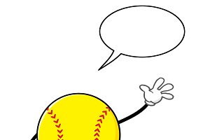Softball Faceless With Speech Bubble
