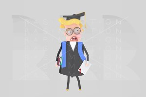 Worried  Graduate blonde boy