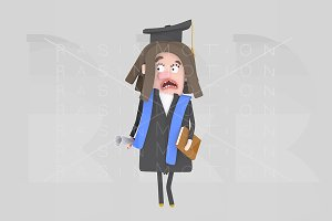 Worried Graduate girl