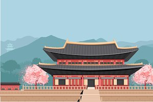 Korean Temple with mountains