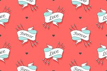 Seamless pattern with hearts and arrows on a turquoise backdrop
