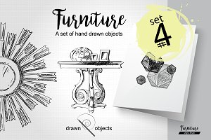 Furniture Hand drawn Vector set#4
