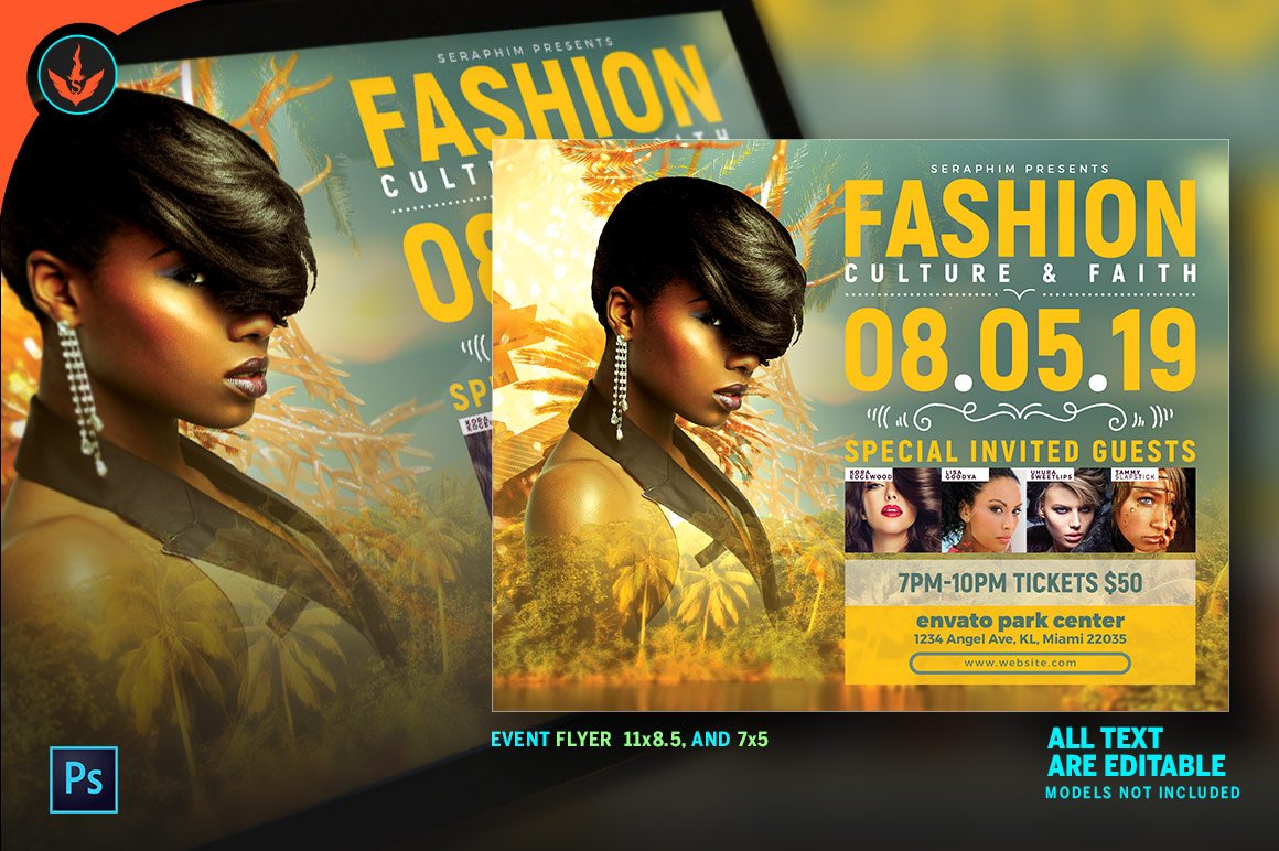 tropical fashion show flyer flyer templates creative market. Black Bedroom Furniture Sets. Home Design Ideas