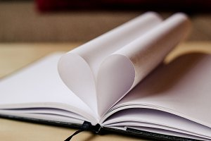 Heart with book sheets