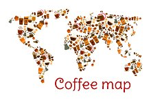 Coffee world map poster with cup and dessert