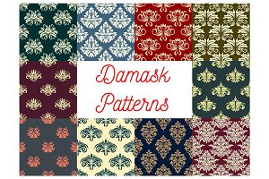 Damask floral seamless pattern of victorian flower