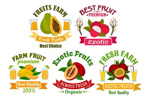Exotic fruit and juice sign set for food design