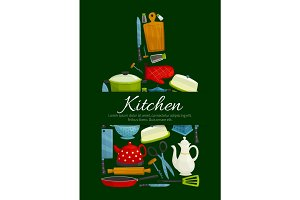 Cutting board with kitchen utensils poster