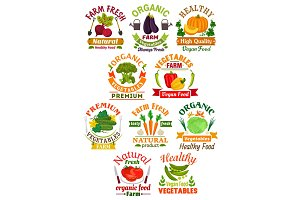Farm fresh vegetables badge set for food design