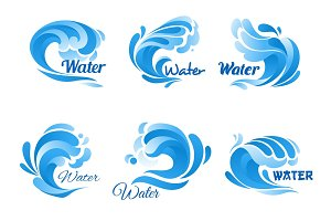 Blue water wave icon set for marine, nature design