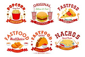 Fast food cafe badge set with takeaway dishes