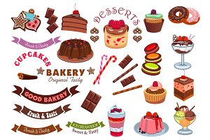Pastry and bakery shop, cafe emblem design element
