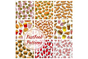 Fast food and drinks seamless pattern background