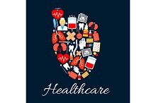 Heart medical poster with healthcare icons