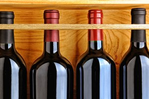Red Wine Bottles in Wood Case