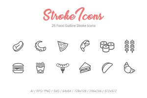 25 Food Outline Stroke Icons
